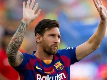 Leo Messi en su reencuentro con la afición blaugrana