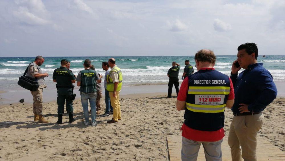 Playa donde se ha estrellado un avión del Ejército del Aire