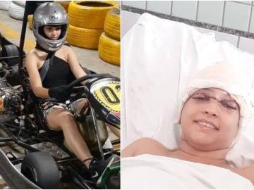 La piloto Débora Oliveira en los karts y luego en el hospital
