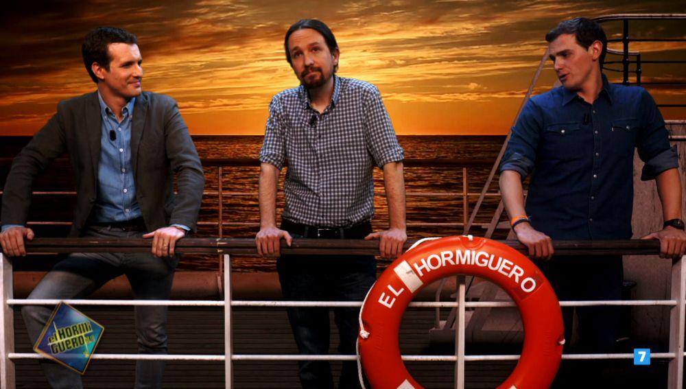 Pablo Casado, Pablo Iglesias y Albert Rivera, en el barco de la nueva temporada de 'El Hormiguero 3.0'