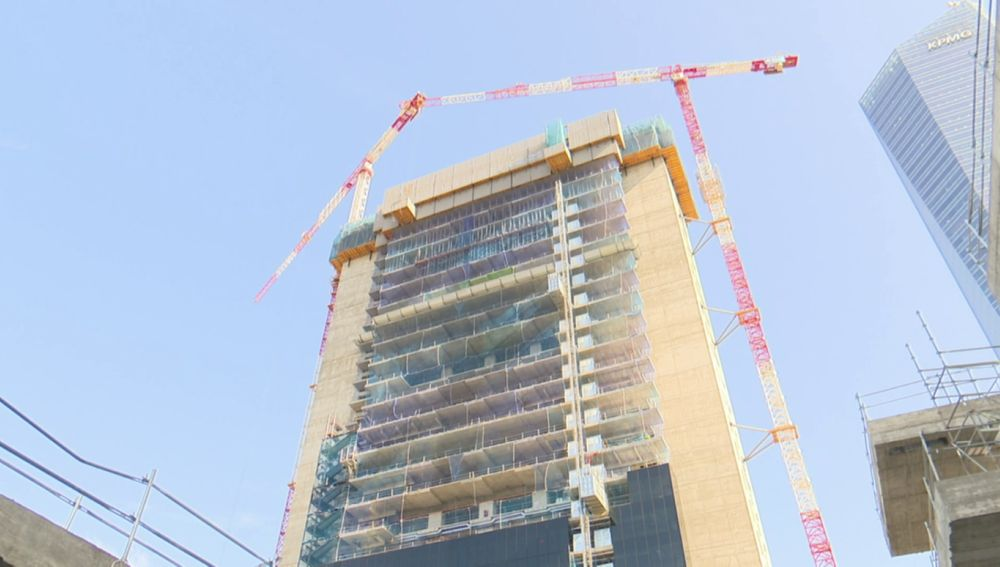Construcción de la torre Caleido, en Madrid