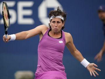 Carla Suárez, en acción en el US Open