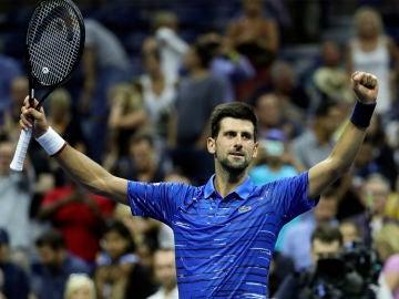 Novak Djokovic celebra su victoria frente a Denis Kudla