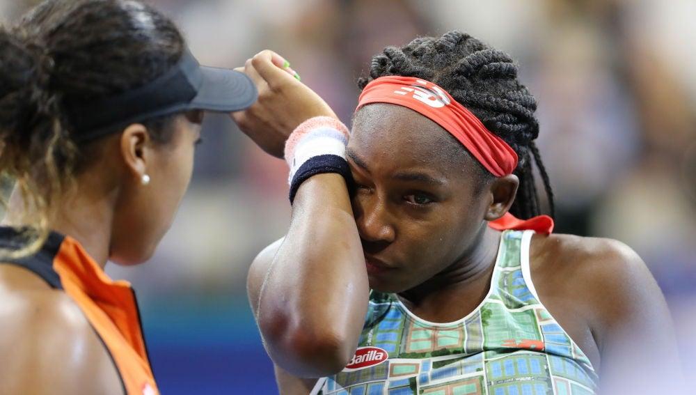 Coco Gauff llora tras la derrota frente a Naomi Osaka