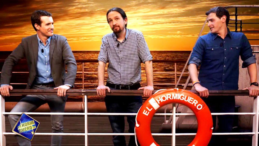 Pablo Casado, Pablo Iglesias y Albert Rivera, viejos amigos en el barco de 'El Hormiguero 3.0'