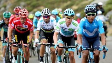 Primoz Roglic, Alejandro Valverde y los colombianos Miguel Ángel López y Nairo Quintana, durante la vigésima etapa de la Vuelta a España 2019