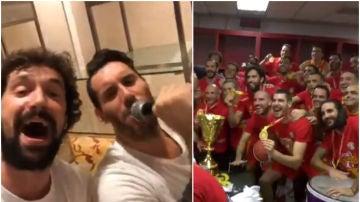 La fiesta de la selección española de baloncesto