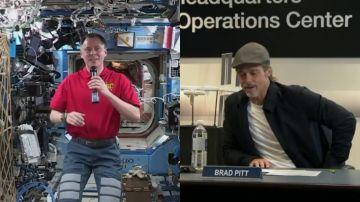 El astronauta junto a Brad Pitt