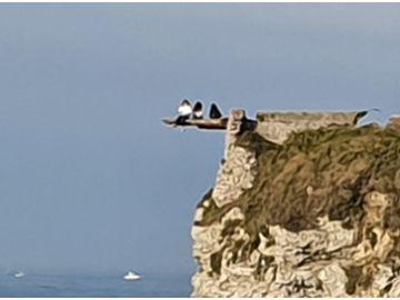 Tres jóvenes haciéndose 'selfies' en el borde de un acantilado