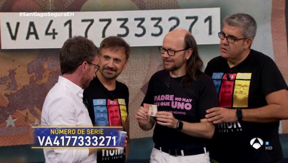 Santiago Segura 'consigue' el billete que Pablo Motos busca en 'El Hormiguero 3.0'