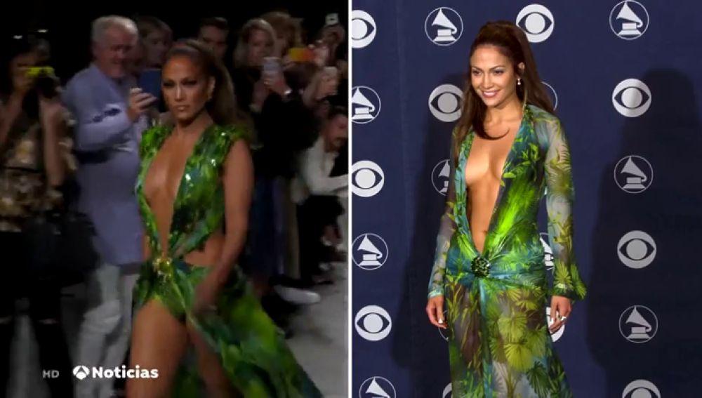 Jennifer López cierra el desfile de Versace en Milán con el icónico vestido verde que llevó hace 20 años