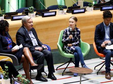 La activista Greta Thunberg en la ONU