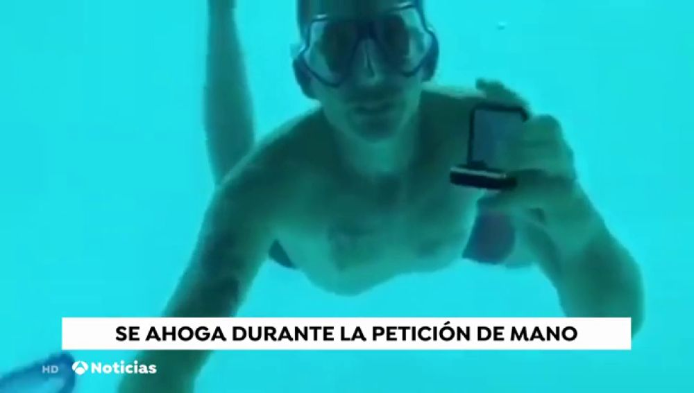 Graban cómo un hombre muere ahogado pidiéndole matrimonio a su novia en un hotel bajo el agua