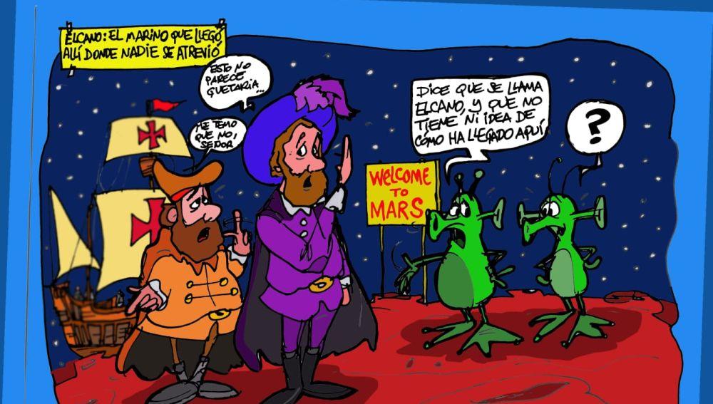 La vuelta al mundo de Juan Sebastián Elcano, , en la viñeta de Afredo Boto-Hervás