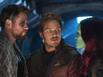 Thor, Star-Lord y Gamora en 'Vengadores: Infinity War'