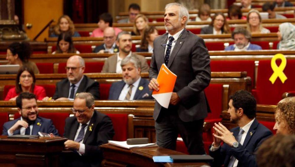 Carlos Carrizosa abre el debate de la moción de censura contra Quim Torra que se celebra este lunes en el Parlament de Cataluña