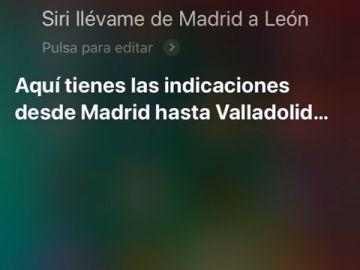 Siri, el asistente de voz de Apple, no ubica correctamente la ciudad de León y la confunde por Valladolid al preguntar por indicaciones desde varios puntos de España.
