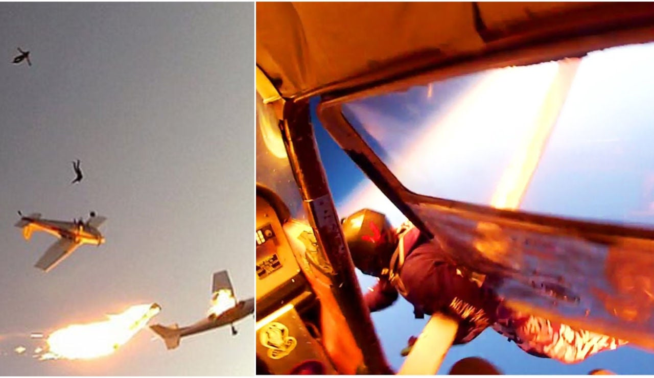 Dos avionetas chocan en el aire