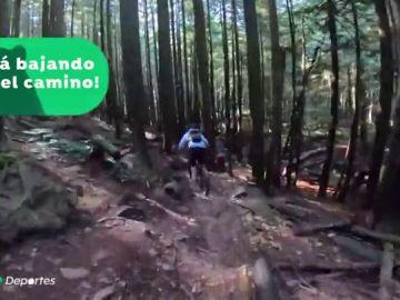 Graban la agónica persecución de un oso negro a tres ciclistas durante un kilómetro en una montaña de Canadá