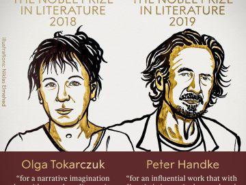 Olga Tokarczuk y Peter Handke, ganadores del Premio Nobel de Literatura 2018 y 2019