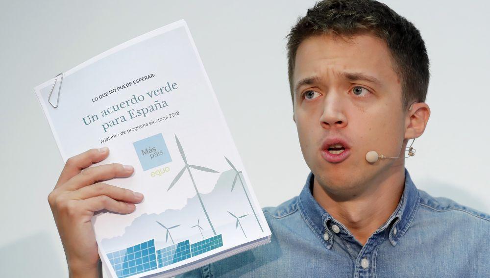 Elecciones generales 2019: Íñigo Errejón presenta el programa de Más País para las elecciones del 10N