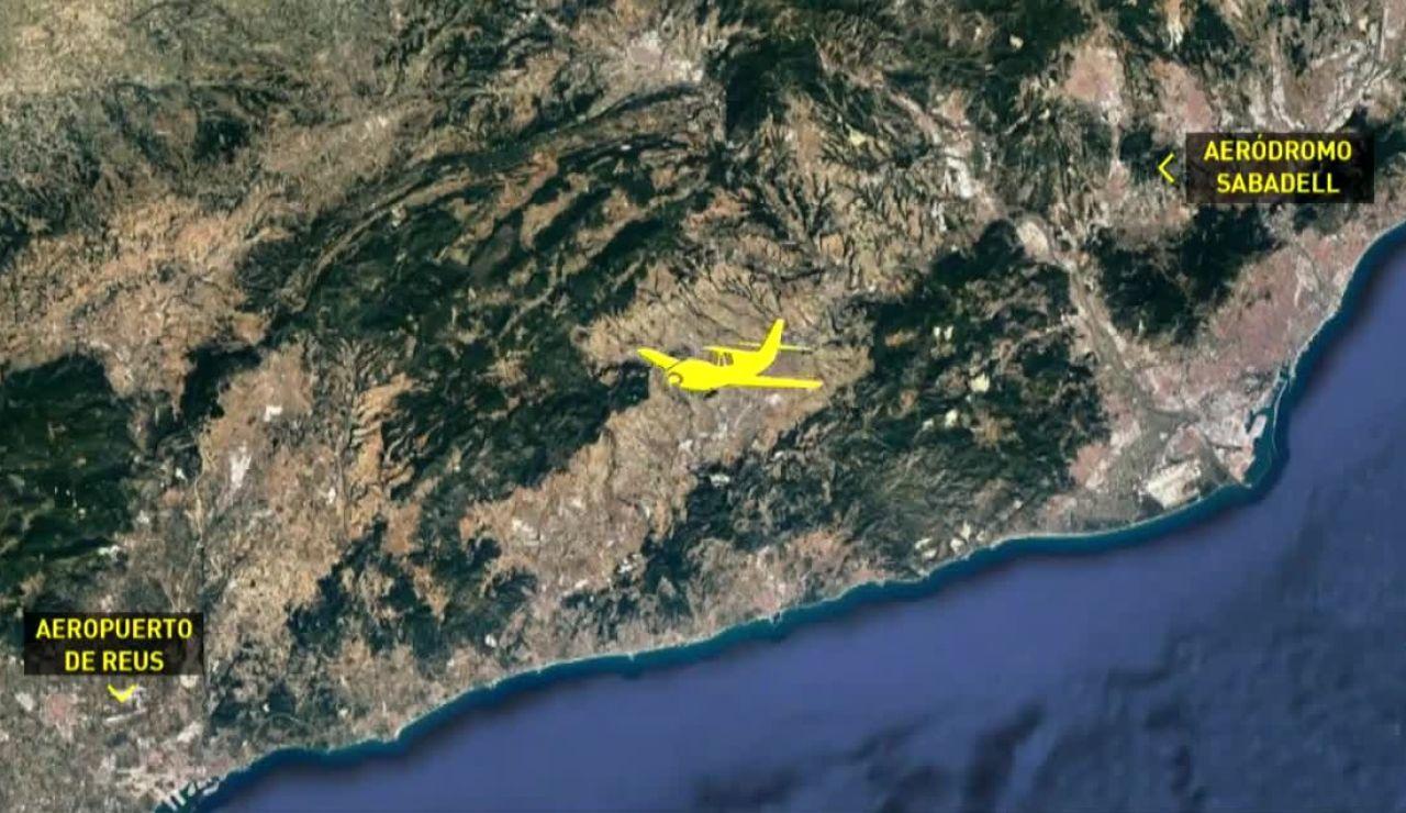 Recorrido de la avioneta que se ha estrellado en Tarragona