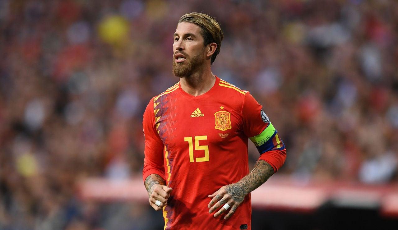 Sergio Ramos, durante un partido con la selección española de fútbol