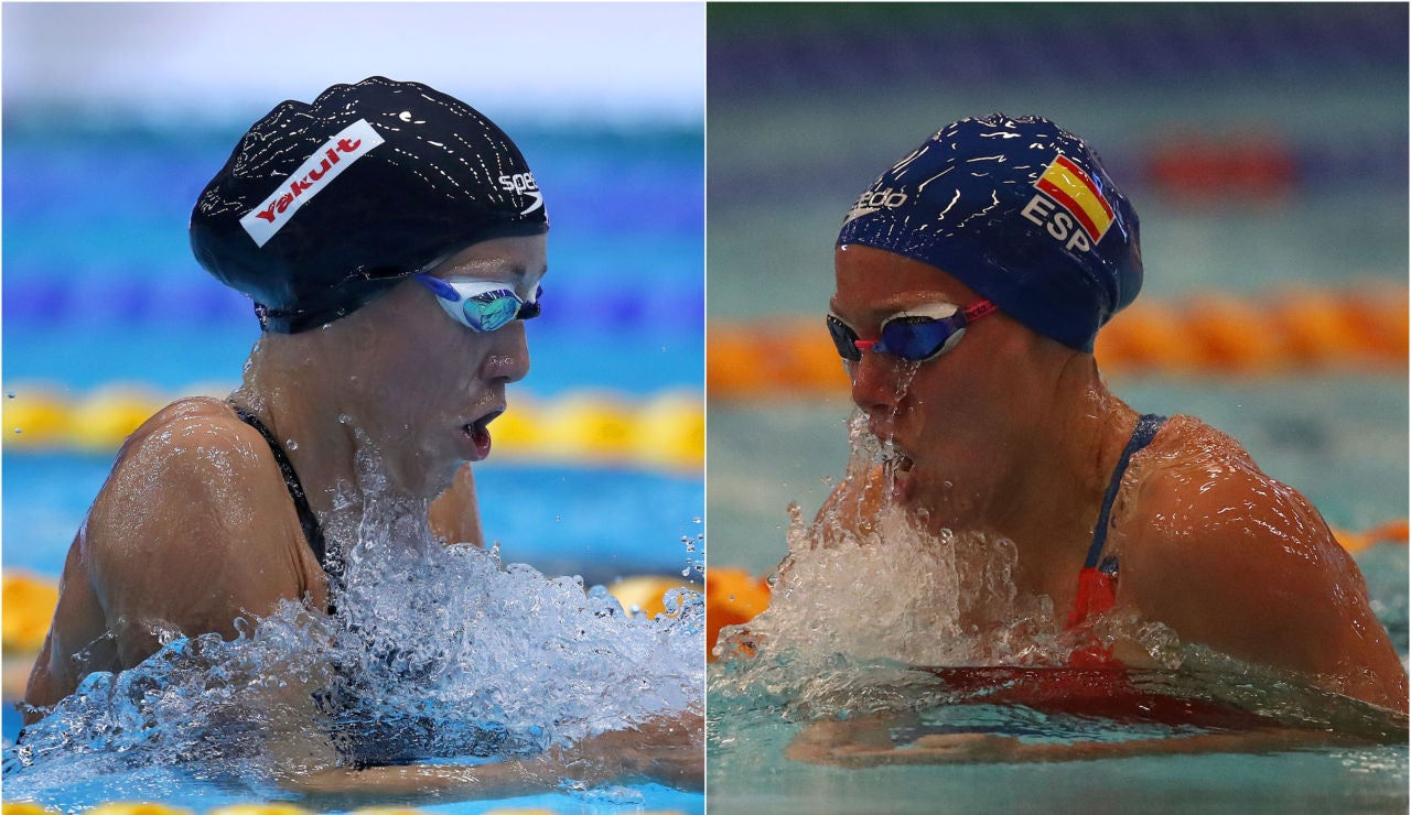 Jessica Vall y Marina García en la prueba de 200 metros braza