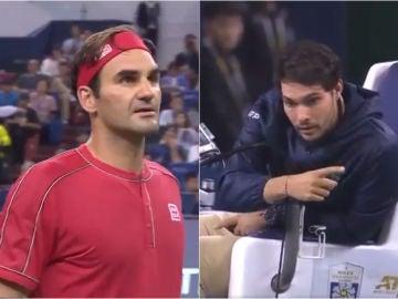 Federer discute con el juez de silla Nacho Forcadell