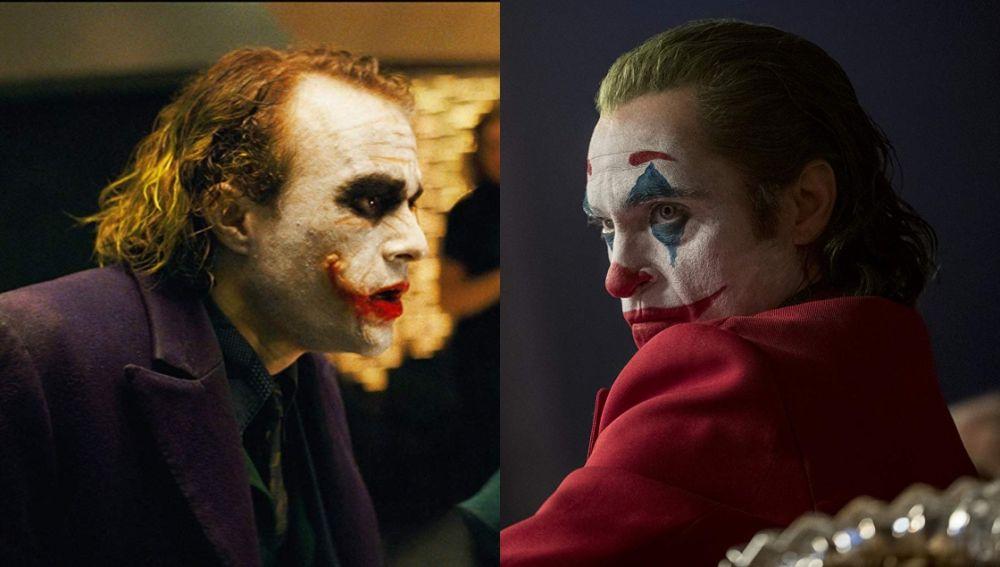 Heath Ledger y Joaquin Phoenix en sus interpretaciones como 'Joker'