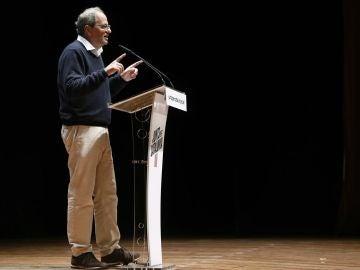 Torra durante su intervención en el acto de precampaña de Junts per Catalunya