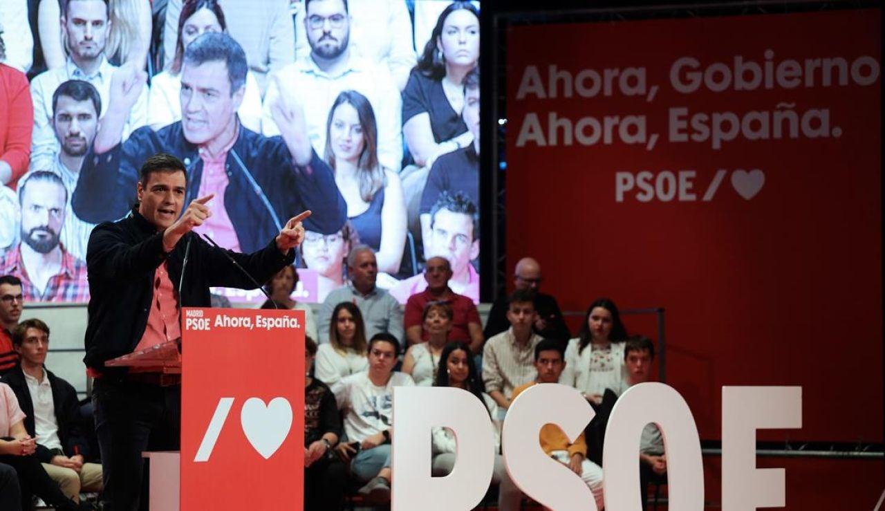 Pedro Sánchez en un acto del PSOE en Alcorcón