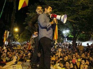 Los Jordis, durante las protestas