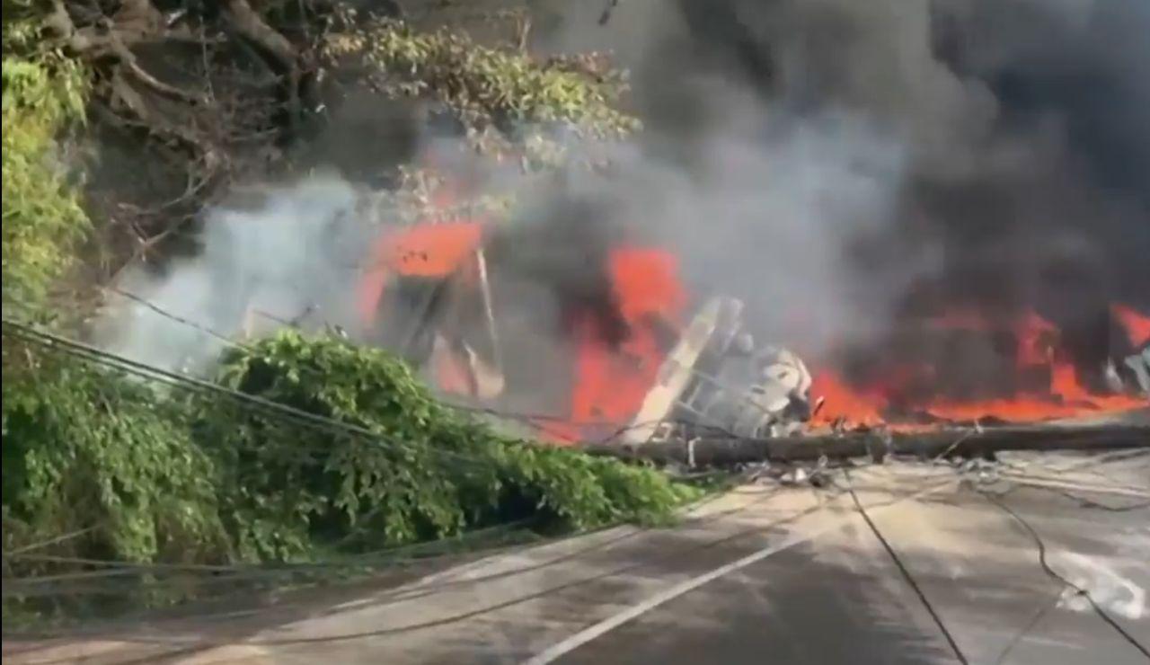 La explosión tras el accidente