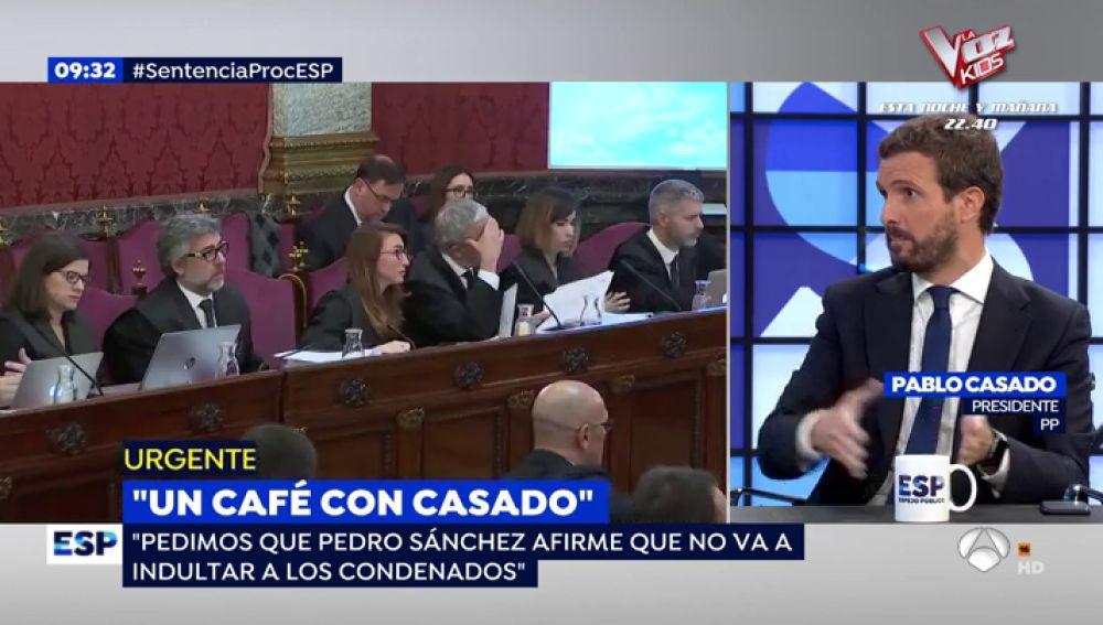 Las tres peticiones de Pablo Casado a Pedro Sánchez tras conocer la sentencia del 'procés'