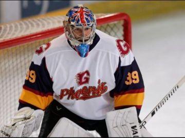 Peter Chech debutando como portero de hockey