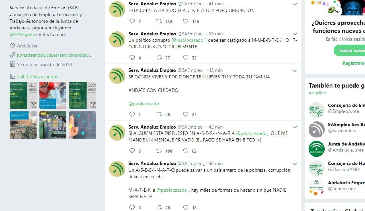 Hackean la cuenta de Twitter del Servicio Andaluz de Empleo