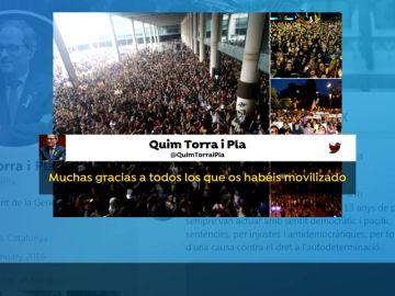 Quim Torra anima las protestas... y manda a los mossos a reprimirlas