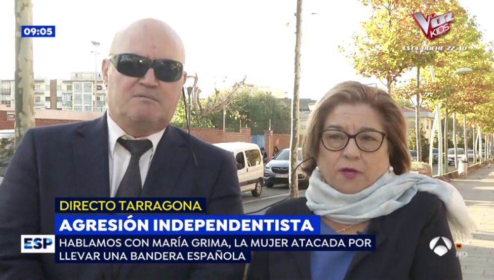 """La mujer agredida en las manifestaciones independentistas de Tarragona: """"Tengo derecho a sacar la bandera de España"""""""