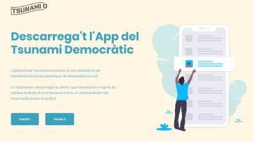La página donde se puede descargar la aplicación de Tsunami Democràtic