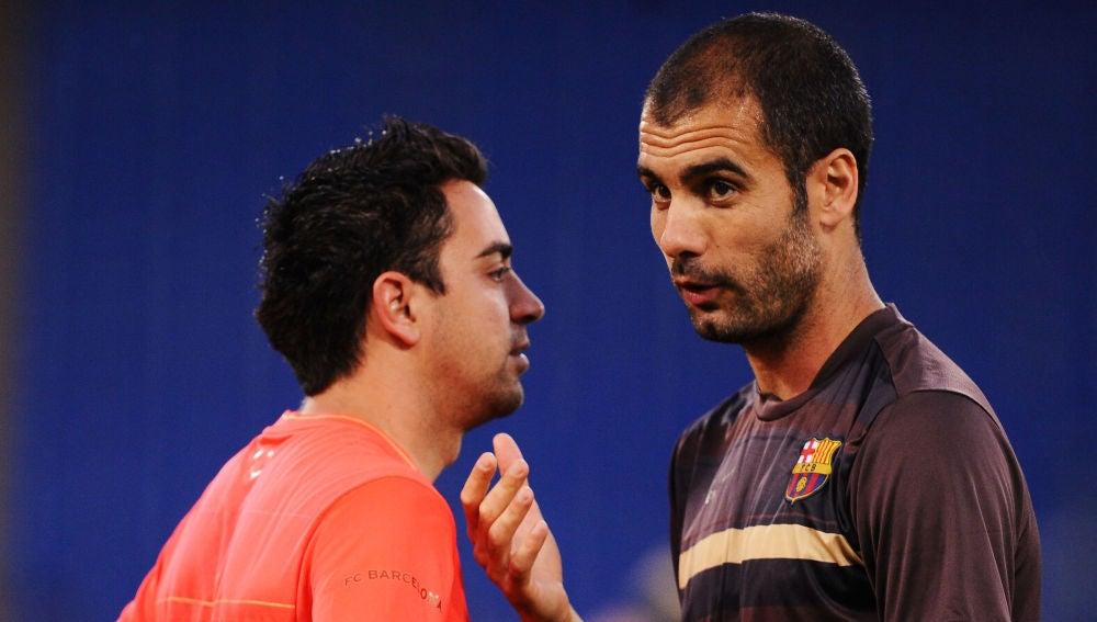 Guardiola y Xavi, en su época en el Barcelona