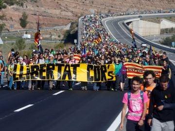 Recorrido desde Berga de una de las 'Marchas por la libertad'