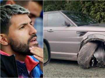 El Kun Agüero y una fotografía del aspecto de su coche tras el accidente en Manchester