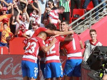 Los jugadores del Granada celebran el gol de Vadillo ante el Betis