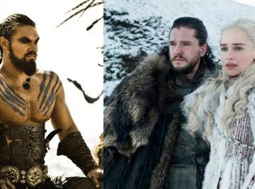 Emilia Clarke, Kit Harington y Jason Momoa como Daenerys, Jon Snow y Khal Drogo en 'Juego de Tronos'