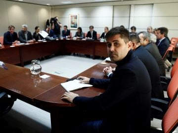 El presidente de la AFE, David Aganzo, en la reunión en Madrid