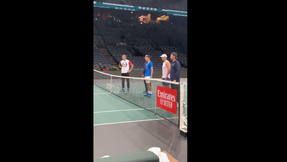 Rafa Nadal y Novak Djokovic durante los entrenamientos