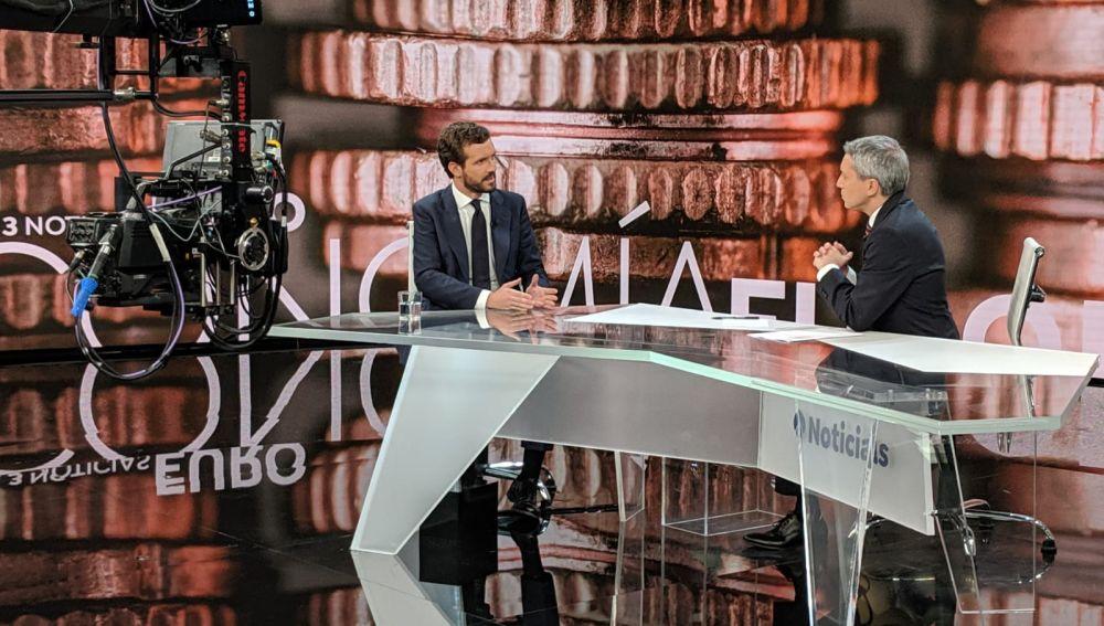 Pablo Casado es entrevistado en Antena 3 Noticias