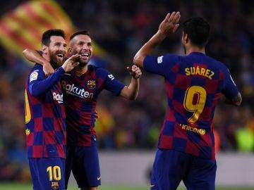 Messi, junto a Jordi Alba y Luis Suárez