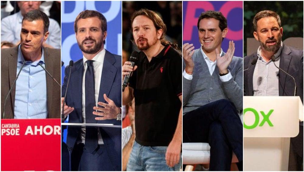 Sánchez, Casado, Iglesias, Rivera y Abascal